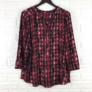 NYDJ Red Black Popover Blouse 3/4 Sleeve XL